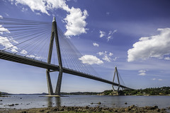 Uddevallabron  - Uddevalla Bridge II (Mabry Campbell) Tags: bridge blue sky water architecture photography photo europe foto image fav50 sweden may bluesky nopeople fav20 cables photograph 100 24mm bild scandinavia fav30 f71 fineartphotography 2014 uddevalla skanska architecturalphotography cablestayed vstragtaland colorimage commercialphotography fav10 cablestayedbridge fav40 fav60 architecturephotography mostlysunny uddevallabron tse24mmf35l houstonphotographer archipelagp sec bohusian skanskaab mabrycampbell may302014 20140530h6a6371 nopeopla