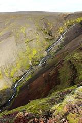 Rauðalda (Freyja H.) Tags: iceland rauðalda landscape nature outdoor gully moss scoria hill hillside ridge stream rapids waterslide green red