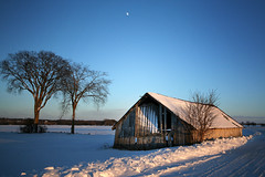 Late Day Barn Shot (Brian 104) Tags: barn winter snow light shadows trees moon road afternoon ilobsterit