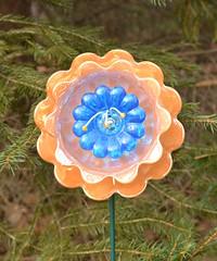 Orange Flower (NiftyBitsGallery) Tags: orange garden art outdoorgardendecor homeandgarden homedecor mini recycledart vintagegardendecor outdoorgarden flowerart perennial gardendecor
