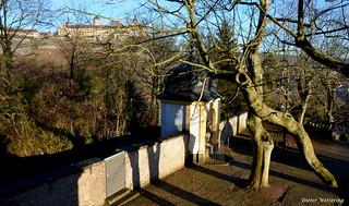 Stationsweg zum Würzburger Käppele mit Blick zur Festung Marienberg