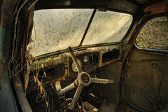 The wheel is gone (Ulvraith) Tags: old car classic rusty interior ford buckel taunus czech republic sony a500