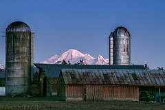 Night Falls over Jason's Place (Dex Horton Photography) Tags: jason farm whatcom county mtbaker snow ice volcano silo rural family washingtonstate bestof dexhorton