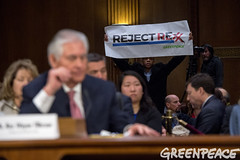 Clearly Rejecting Rex (Greenpeace USA 2016) Tags: tillerson rex exxon mobile climate denier trump statedepartment secreatryofstate senate capitolhill hearing confirmation washington dc