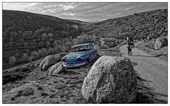 L'enfer du décor (Jean-Marie Lison) Tags: v700 scan montagne voiture épave randonnée chemin