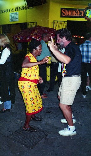 Dancing with Granny at Smokey and Buntys, St. James, Port of Spain