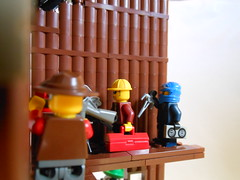 DSCN3849 (Mightyslickpancake) Tags: lego team fortress 2 heavy medic demoman soldier scout pyro spy engineer sniper ctf tf2 capture flag red vs blue hats