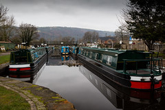 Still waters of the Llangollen Canal. (Mat Price) Tags: llangollen trevorbasin canon70d canon24105mm hoyapolarizingfilter llangollencanal narrowboats barges adobelightroom towpath