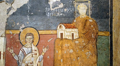 Madonna and Child Enthroned with Saints and Theodotus dedicating Santa Maria Antiqua to her (right end), c. 741-752, Santa Maria Antiqua, Rome