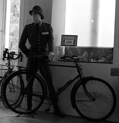 "The use of bykes by the Portuguese ""Gendarmerie"" (GNR) (pedrosimoes7) Tags: byke gnr portuguesegendarmerie gendarmerie bicicleta bicycle blackandwithe blackwhite artgalleryandmuseums cyclismmuseum caldasdarainha portugal"