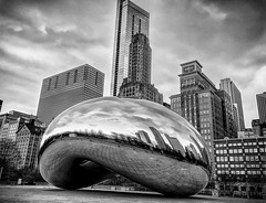 Winter Day in Chicago (johnsinclair8888) Tags: sliderssunday chicago bean michiganave iphone selfie affinityphoto stacked hdr bw art city downtown winter bnw contrast metal windows skyscraper clouds street silverefexpro iphone7 johndavis
