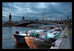 paris evening mood (sebisyg) Tags: city bridge blue sky paris france tower water seine river boats evening town scenery mood ships capital sightseeing eiffel romantic metropolis