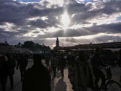A moment (Hindolbittern) Tags: africa city light colour tag3 taggedout architecture clouds wonderful cool tag2 tag1 dusk contemporary minaret muslim el calm morocco maroc marrakech marrakesh continent islamic jamaaelfna lan