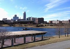 Omaha Skyline and River Canal (samuelalove) Tags: urban greatplains omahanebraska