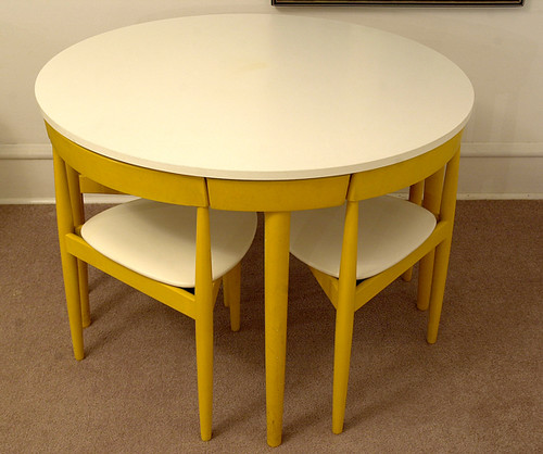 white yellow ebay furnishings hansolsen formica midcentury diningset fremrojle 3leg notforsalereferenceonly