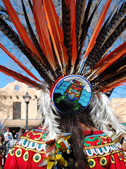 Aztec Dancer (Mary Hockenbery (reddirtrose)) Tags: plaza red orange woman newmexico southwest dance topv333 embroidery feathers feather dancer reddirtrose taos beading aztecdancer grupotlaloc