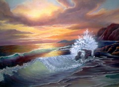 ocean sunset (Ann Blair) Tags: ocean sunset orange seascape painting golden waves sundown shoreline