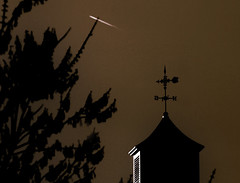 goin' south (Martha Catherine Ivey) Tags: silhouette sepia contrail cupola weathervane