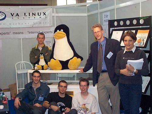 Tux with his friends at the VA Linux booth