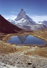 Matterhorn - Three Peaks (Perfesser) Tags: vacation mountain alps reflection film wow schweiz switzerland europe suisse 1999 matterhorn riffelsee ch 800views 700views exposurenetwork
