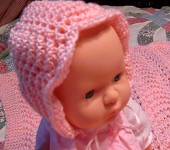 Feather and Fan Baby Bonnet