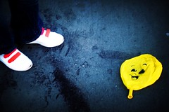 destroyed happiness (Z!6) Tags: street yellow lomo shoes balloon adidas stansmith yeat 250v10f