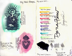 Moleskine: Testing Rubbers & Flow (Isabel Nunez) Tags: test moleskine ink watercolor stamps journal stamp sample dye rubberstamp rubberstamps jacquard
