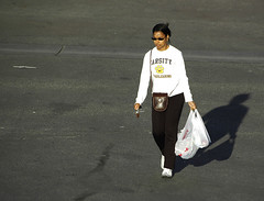 varsity (Worker101) Tags: woman girl bag grocery favcol