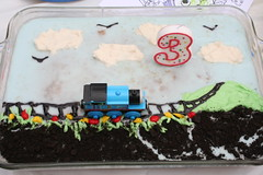Oscar's Thomas the Train Cake (Phil Scoville) Tags: california cake null oscar homemade redlands 3rdbirthday thomasthetrain scoville brooksidepark marlenedesigned
