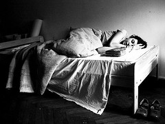 coma. (jadziajadzia) Tags: morning light portrait bw woman topf25 girl contrast bed shoes asia grain sleepy sheet myplace coma bedclothes lethargy unconcious aka