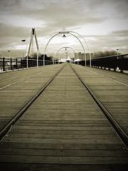 Southport Pier (Psycho Crow) Tags: wood uk england lights coast pier vanishingpoint arches southport tramtracks southportpier