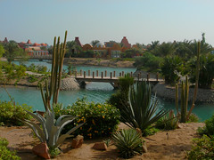 A garden view: Sheraton Miramar Resort El Gouna, Hurghada - Egypt (mnadi) Tags: flowers sunset red summer cactus sky orange holiday flower colour garden pond warm colours outdoor redsea curves egypt sunny resort arabic clear gouna egyptian styles sheraton ethnic spa miramar hurghada michaelgraves bedouin  nubian elgouna bougainvilleas