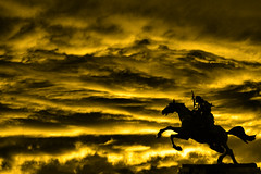 Riding towards the sun... (Giampaolo Macorig) Tags: sky painterly storm yellow statue quality apocalypse dramatic giallo cielo statua 1in10f50v apocalisse