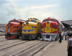 Three Diesels (PhotoShop Guru) Tags: railroad santafe losangeles diesel historic unionpacific locomotive unionstation e9 southernpacific f7