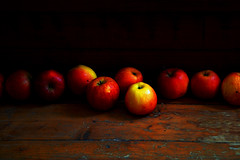 Rembrandt's Apples (naughton321) Tags: wood uk cambridge red stilllife food painterly apple nature beautiful fruit wow wonderful garden dark painting ilovenature photo nikon darkness searchthebest natural d70 superb gorgeous fineart great pommes pi gravity excellent knowledge apples eden rembrandt newton pomme adamandeve nikonstunninggallery fivestarsgallery fsgdiner blackribbonbeauty