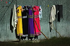 Local costume drying in the sun, Boquete, Panama (goneforawander) Tags: travel america flora nikon hiking central d70s backpacking latin boquete panama overland goneforawander