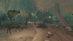 Christmas at StoryBrooke Gardens, Baja Norte (94, 127, 2001) (Jojo Songlark) Tags: avatar sl virtualworld secondlife snow reindeer
