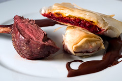 Rack of Venison with Beet Strudels and a Cocoa-Coffee Sauce (ilmungo) Tags: frenchlaundryday2 dinner party food presentation rackofvenison venison chop beetstrudels strudel redbeet goldenbeet coffeecocoasauce salt topv111