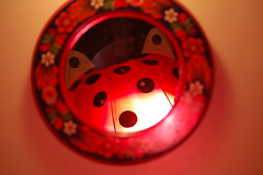 monster in the bathroom mirror (LaLoux) Tags: light red freeassociation umbrella mirror redblack photodomino241