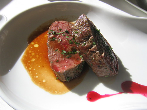 Venison with jus and parsley.