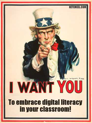 I want YOU to embrace digital literacy in your classroom (Uncle Sam poster)