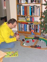 A kid on Christmas morning