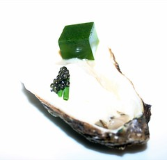 Malpaque Oyster, guinness ice cream, sea weed gele and california caviar