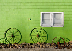 Small Town Shadows (www.toddklassy.com) Tags: wheel lime green wall window white gravel flat small town monticello wisconsin shingle pattern shadow abstract color colour wonderful wi greencounty outdoors stockphotography stockphoto greenwall building buildingexterior monticellowisconsin colorfulwall colorimage horizontal wagonwheels rusty metal againstthewall three 3 thenumberthree house home residence smalltown vividcolors shingles siding midwest lighting painted paint landscaping shadows oldhouse side spokes rural nonurbanscene bright copyspace composition toddklassy wisconsinphotographers old ramshackle rustic provincial simple unsophisticated rims wheelrims antique oldandnew kitsch alley backalley story