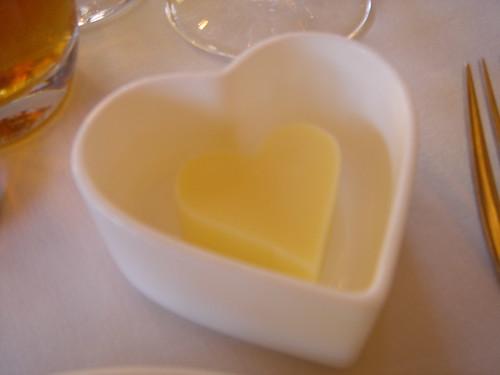 a heart shaped butter