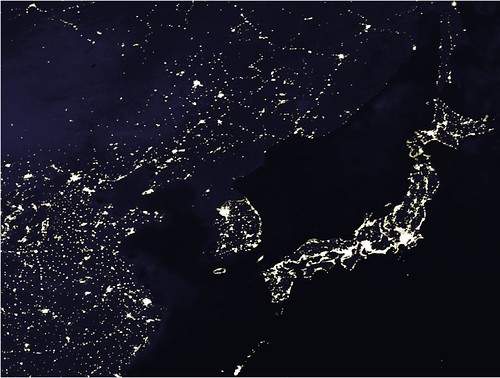north korea at night. North Korea is Dark at Night,
