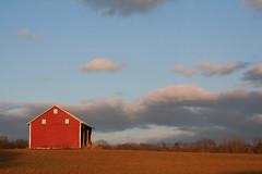 a dab of red (littlelakey) Tags: red sky barn redbarn clouds field farm sun sunset