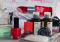 girls-stuff (Dr Joolz) Tags: necessities girlswag girlstuff toiletries bodyshop shampoo conditioner emeryboards nailvarnish bodybutter moisturiser toothbrush toothpaste cottonbuds showercap bathgel trialsize perfume