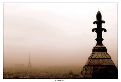 In the Fog (Arnold Pouteau's) Tags: paris france sepia eiffeltower montmartre great5 great1 great4 great2 great3 f25 almostthere