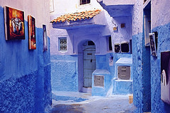 The Blue art (Maroc) (Dlirante bestiole [la posie des goupils]) Tags: city blue beautiful canon painting interestingness topf75 colorfull great morocco shade maroc chaouen chefchaouen impressive